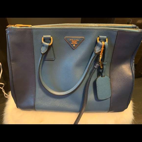 Prada Lux Two-tone Saffiano handbag blue leather